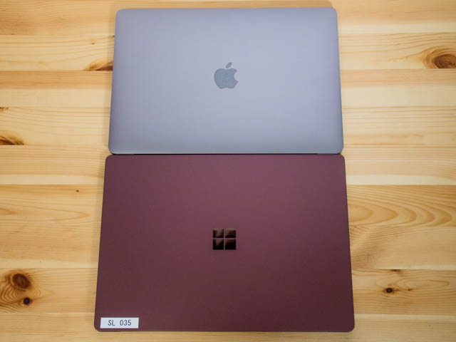 SurfaceLaptop MacBookPro比較上面