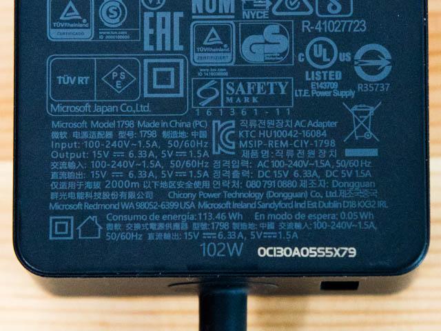 SurfaceBook2 ACアダプター102W
