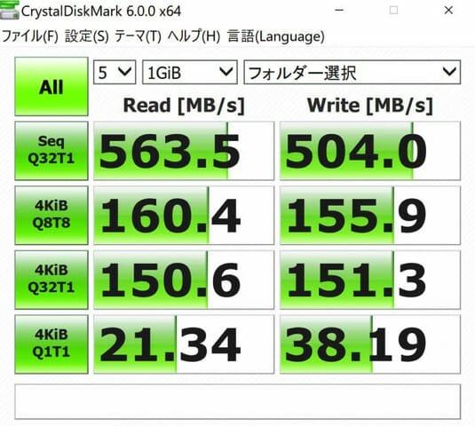 DELL XPS13 USB Cストレージ速度検証