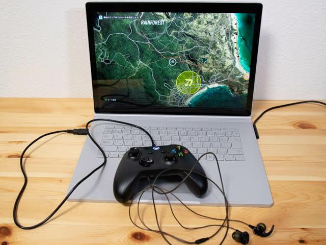 SurfaceBook2 15inch XBOXコントローラー イヤホン有線