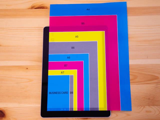 SurfaceGo 大きさディスプレイ用紙サイズ比較