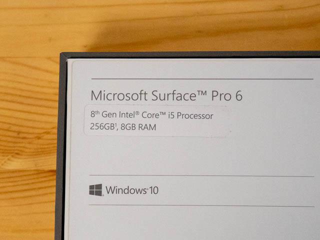SurfacePro6 パッケージ スペック