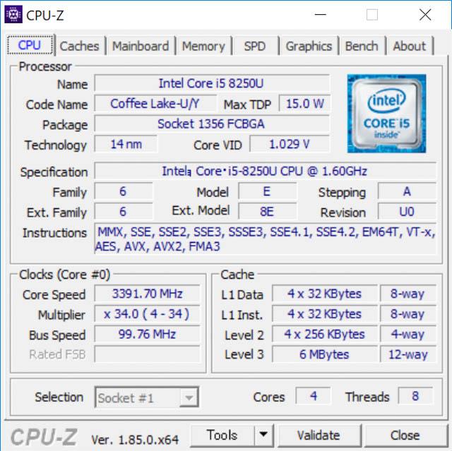 SurfaceLaptop2 CPUZ CPU