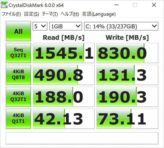 SurfacePro6 ベンチ CrystalDiskMark