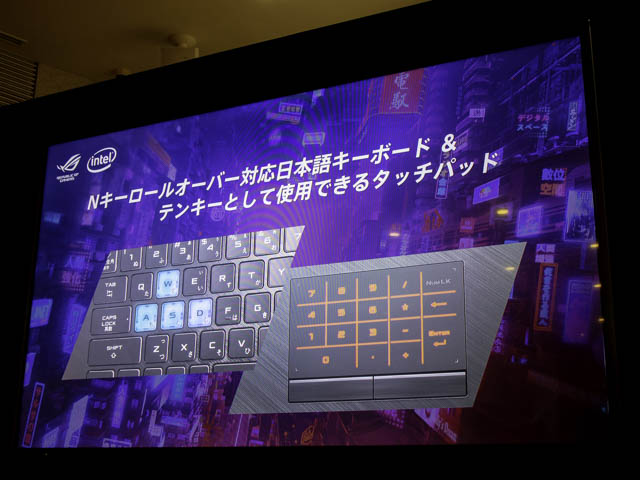 ASUS2019年ROG ROG STRIX-G-G531テンキータッチパッド