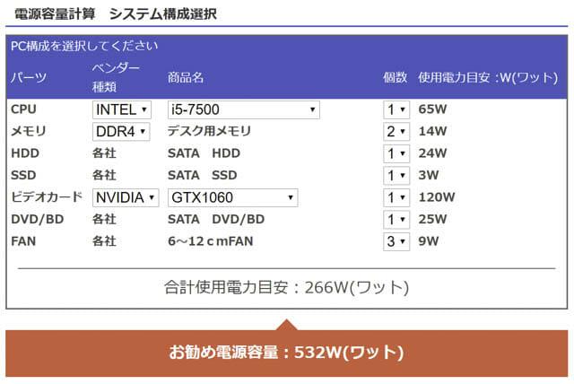 電源ユニット ドスパラ電源容量計算機-ミドル