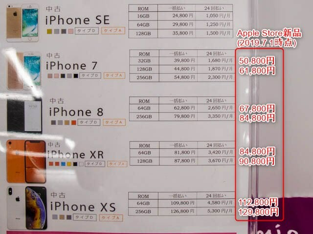 IIJmioの中古iPhone 価格表