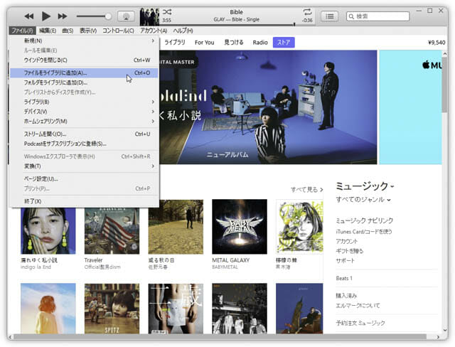 AppleWatch単体でAmazonMusicを聴く iTunes-ファイルを追加