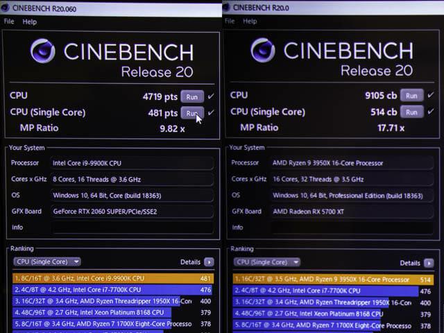 AMD-Ryzen-9-3950X パフォーマンス-Cinebench-R20-Intel比較