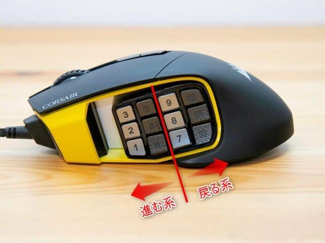 多ボタンゲーミングマウスCorsair-SCIMITAR-PRO-RGB サイドボタン-縦区分け