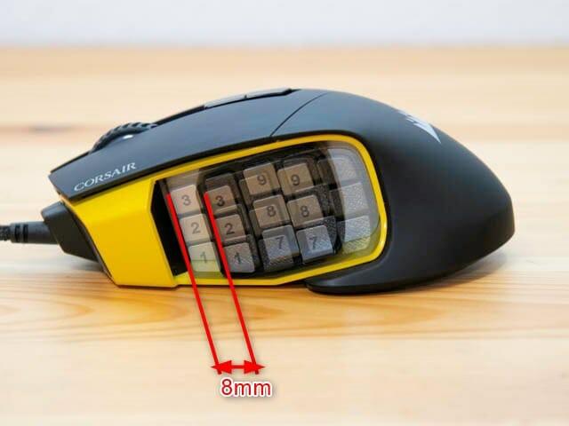 多ボタンゲーミングマウスCorsair-SCIMITAR-PRO-RGB サイドボタン位置調整機構