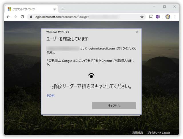USB指紋認証キー マイクロソフト-サインイン-指紋認証