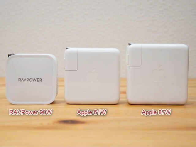 RAVPower90W充電器 Apple61W-87W比較-正面