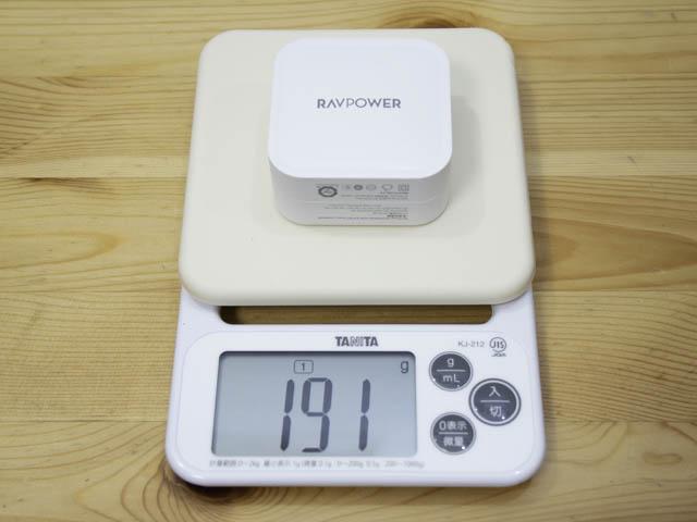 RAVPower90W充電器 重量
