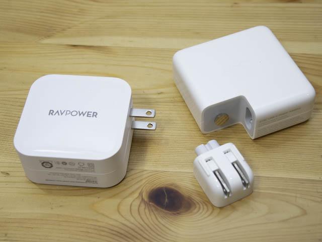 RAVPower90W充電器 Apple61W-87W比較-コンセント